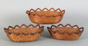 Nest of three Pennsylvania rye straw baskets, 19th