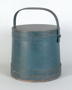 New England painted pine firkin, 19th c., stamped