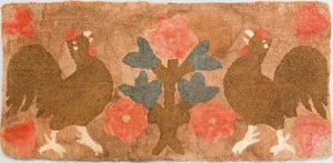American hooked rug, ca. 1900, depicting two roost