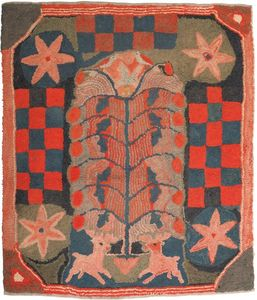 American hooked rug, 19th c., depicting two stagse