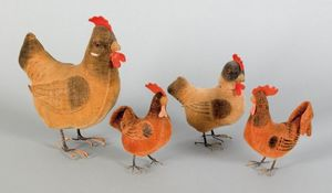Four felt roosters, 19th c., with wire legs, talle