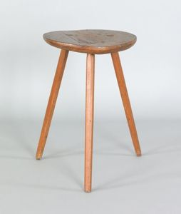 Windsor stool, early 19th c., with splayed legs, 2