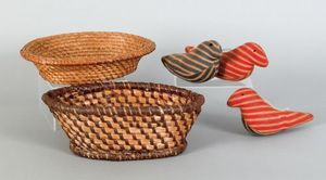 Two rye straw baskets, 19th c., 3 3/4