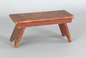 Painted pine foot stool, 19th c., retaining an old