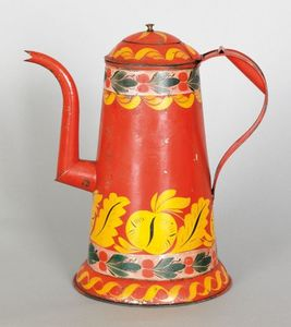 Rare red tin toleware lighthouse coffee pot, early