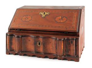 George III walnut table top desk, ca. 1780, with p