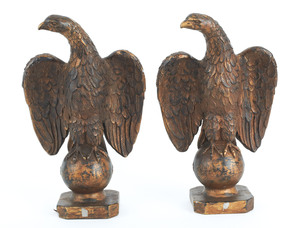 Pair of Leonardo Art Works, Inc. composition eagle