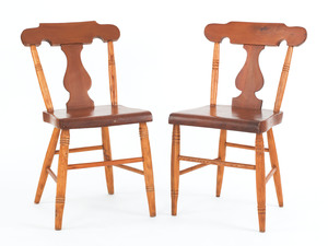Pair of Pennsylvania plank seat side chairs, 19th.
