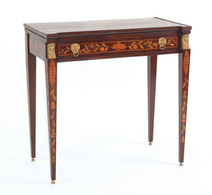 Marquetry inlaid mahogany games table, 19th c., wi