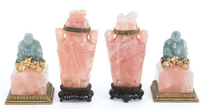 Pair of Chinese carved pink quartz covered urns, 6