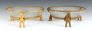 Pair of French cut glass bowls with ormolu rims an