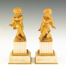 Pair of ormolu and alabaster putti figures, 6 3/4
