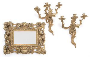 Pair of French brass sconces, together with a mirr