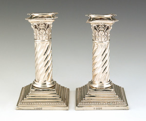 Pair of Sheffield sterling silver candlesticks, 18