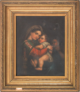 Continental oil on canvas of the Madonna and child