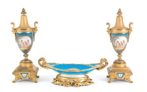 Sevres type three-piece ormolu mounted porcelain g