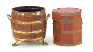 Two English brass bound peat buckets, 15