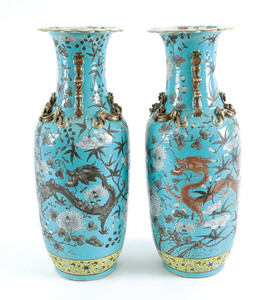 Pair of Chinese turquoise ground porcelain vases
