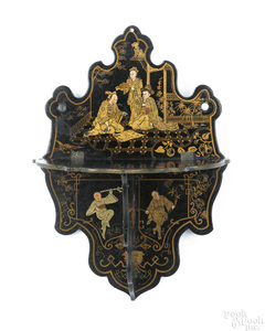Oriental lacquer wall shelf, early 20th c., 10 3/4