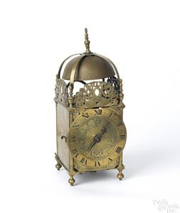 English William & Mary style brass lantern clock,a