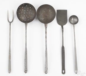 Five wrought iron utensils, 19th c., to include ap