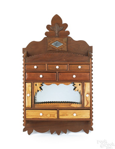 Folk art walnut hanging cabinet, late 19th c., 33