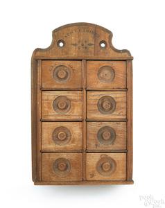 Victorian oak spice cabinet, ca. 1900, 17