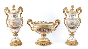 Impressive ormolu mounted porcelain three piece ga