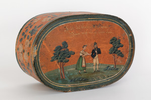Continental painted bentwood bride's box, early 19