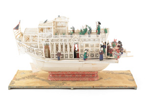 Elaborate Chinese carved ivory and wood junk