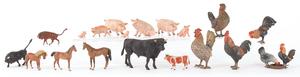Nineteen Austrian cold painted bronze farm animals