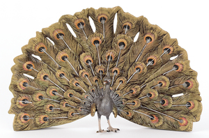 Austrian cold painted bronze peacock, mid 20th c.,