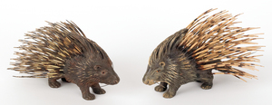Two Austrian cold painted bronze porcupines, mid 2