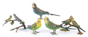 Five Austrian cold painted bronze parakeet figures