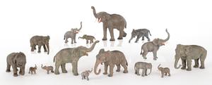 Fifteen Austrian cold painted bronze elephants, mi