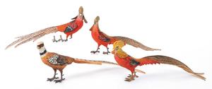 Four Austrian cold painted bronze pheasants, mid 2