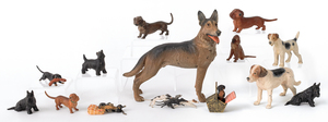 Fourteen Austrian cold painted bronze dogs, mid 20
