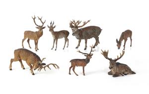 Seven Austrian cold painted bronze elk and deer fi