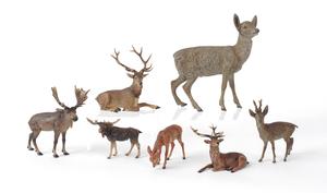 Seven Austrian cold painted bronze deer and elk, m