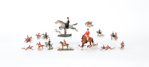 Fourteen Austrian cold painted bronze fox huntingi