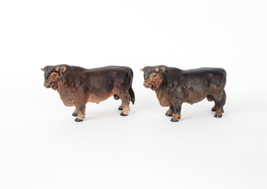 Two Austrian cold painted bronze bulls, mid 20th c