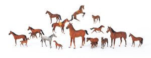 Sixteen Austrian cold painted bronze horses, mid 2