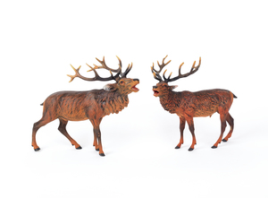 Two Austrian cold painted bronze elk, mid 20th c.,