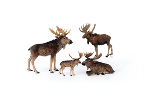 Four Austrian cold painted bronze moose, mid 20th.