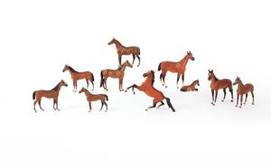 Ten Austrian cold painted bronze horses, mid 20th.