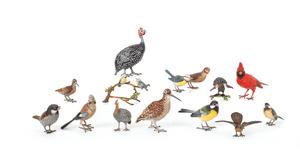 Fourteen Austrian cold painted bronze ornithologic