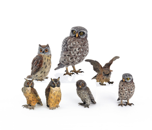 Seven Austrian cold painted bronze owls, mid 20th.