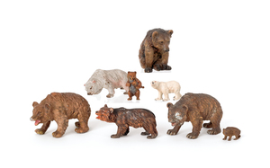 Seven Austrian cold painted bronze bears, mid 20th