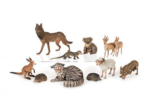 Eleven Austrian cold painted bronze wild animals,i
