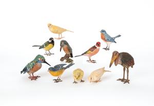 Ten Austrian cold painted bronze ornithological fi